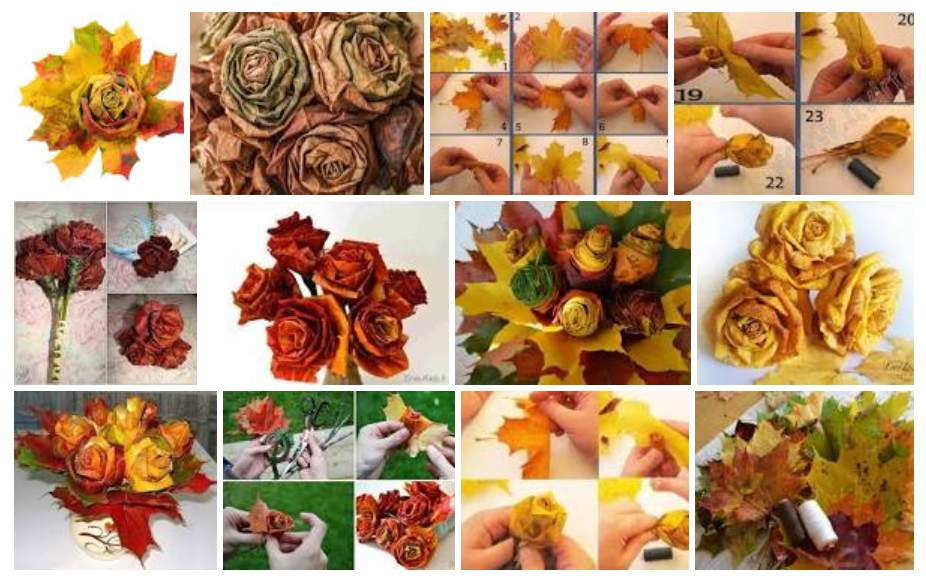 Gėlės iš klevo lapų