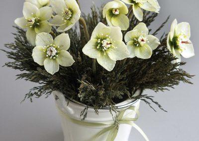 Balti eleborai su dekoratyvinėmis smilgomis