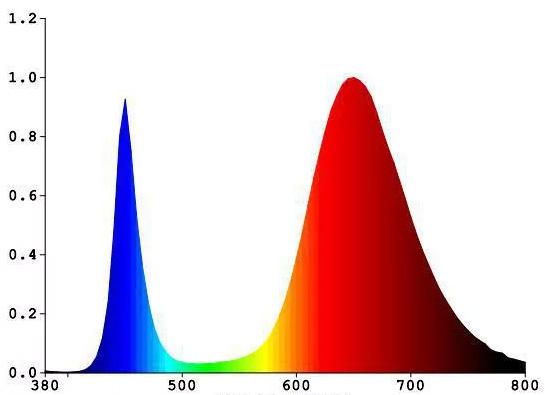 Auginimo lempų šviesos spektras