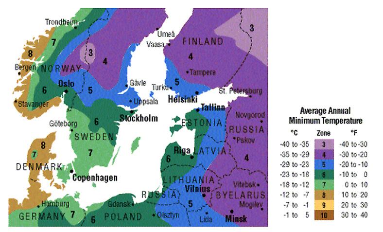 Augalų klimato zonos europoje (prie baltijos jūros)